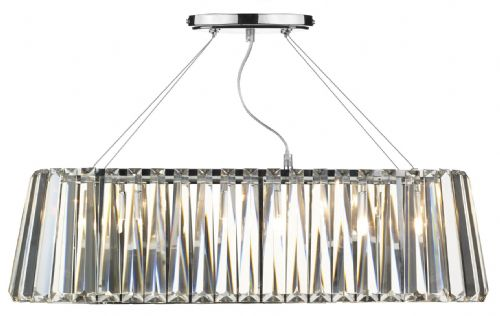 Cecilia 3-light Polished Chrome Oval Linear Pendant Bar Ceiling Light (030112) CEC0350